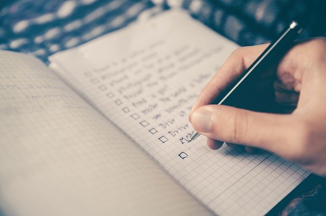 checklist, notebook